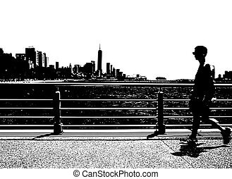 Strolling man. - A man walking on a Hudson River Park Pier...