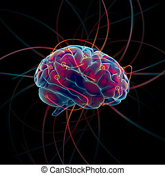 Thinking brain - Thinking process of the brain concept