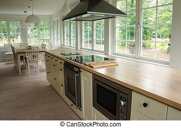 kitchen - light kitchen interior, chairs, desk, windows