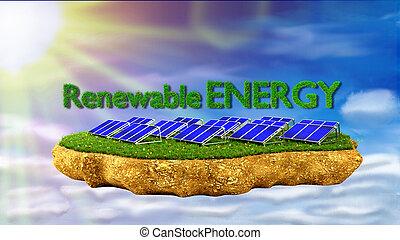 solar panels renewable energy concept