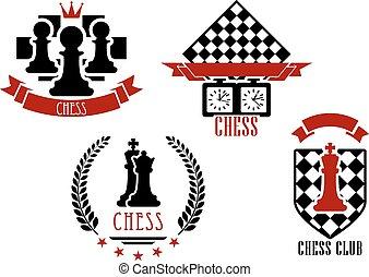 Logotipos, emblemas, juego, ajedrez, deportes