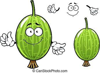 Cartoon green gooseberry fruit character - Cute cartoon...