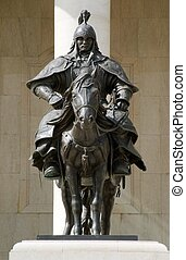 bronze statue of Genghis Khan's warriors - ULAANBAATAR,...