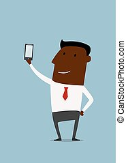 Cartoon african american businessman taking selfie using a...