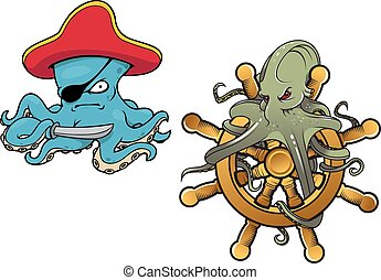 Marine cartoon octopuses with saber and helm - Two fun...