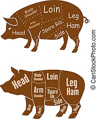 Meaty pigs with butchery cuts - Meaty brown pigs with...