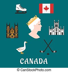 Canada travel flat icons and symbols