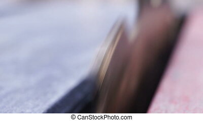 Radial Saw Blade Teeth Macro Front - Close up macro shot of...