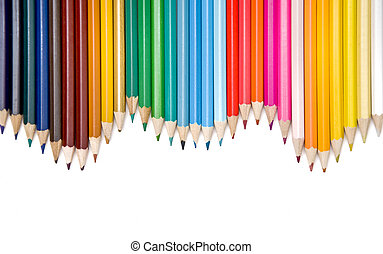 colored pencils frame arranged on white background