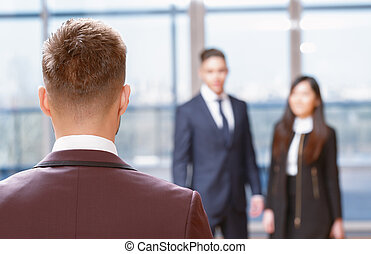 Back view of a businessman