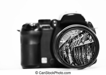 Camera - a close up of a camera lens on a white background