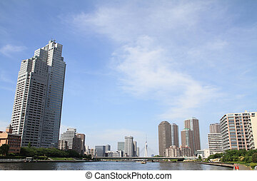 Sumida river and high-rise buildings in Tokyo, Japan