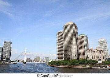 Okawabata river city 21 in Tokyo, Japan