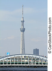 Tokyo skytree and Sumida river in Tokyo, Japan