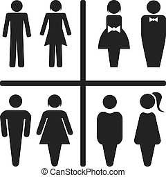 Restroom icon set isolated on white.   Vector illustration