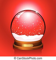 Red Snow Globe - Realistic vector snow globe with falling...