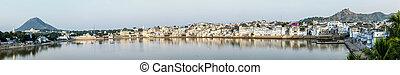 panoramic view of Lake Pushkar in India