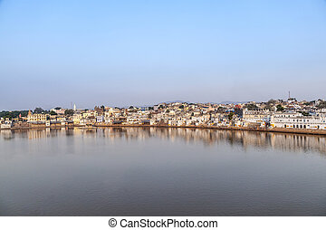 panoramic view of Lake Pushkar in India