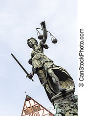 Justitia Statue at the Romer square under blue sky