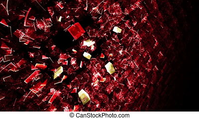 Explosion Of Red Cubic Particles - Wall made of cubes...