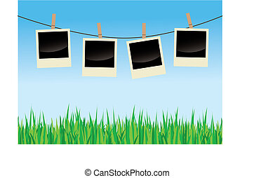 Polaroids On Clothes Line - Vector illustration of empty...