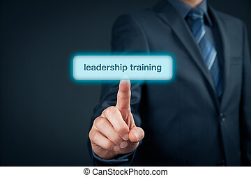 Leadership training concept - manager click on button to...