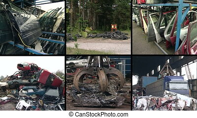 metal scrap collage - Parts of used car bodies and special...
