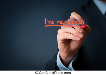 Time management concept. Man write on virtual board time...