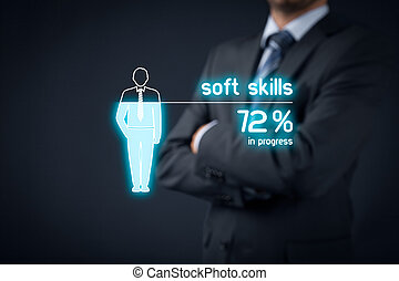 Soft skills training in progress Visual metaphor - manager...