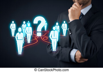Human resources officer think about employees. FAQ and...
