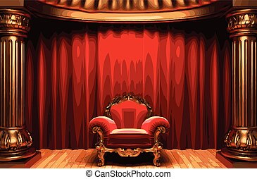 vector chair and red curtain stage