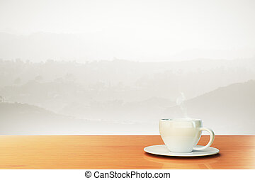 beautiful background with coffee cup and place for your text