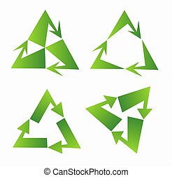Set of green recycle sign design on triangle