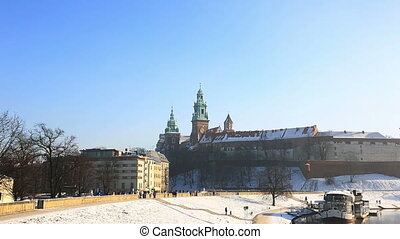View of Wawel castle in the city of Krakow in the winter...