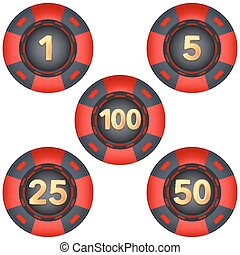 Set of gambling chips rated Vector Illustration isolated on...