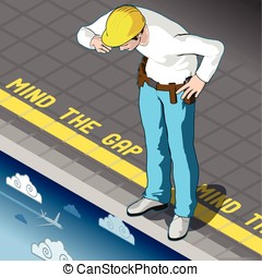 Isometric Mind the Gap - Isometric infographic mind the gap...