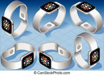 Isometric White Smart Watch in Six Views - Smart watch six...