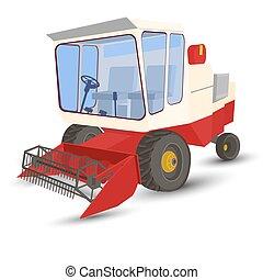 combine-harvester red - combineharvester, vector, white...