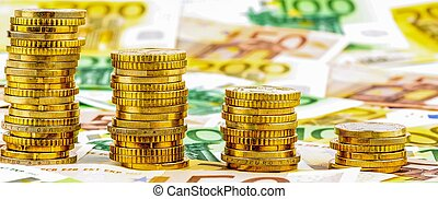 stack of money coins, falling curve