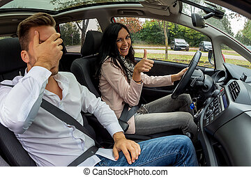 couple traveling in a car - a couple traveling in a car