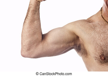 man flexing arm muscle