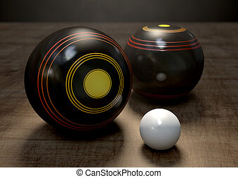 Lawn Bowls And Jack - Two wooden lawn bowling balls...
