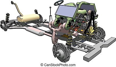 Plan of car chassis showing wheels, transmission engine and...