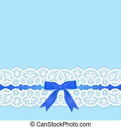 Lace border - White lace border with a bow on a blue...
