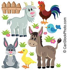 Farm animals set 3 - eps10 vector illustration.