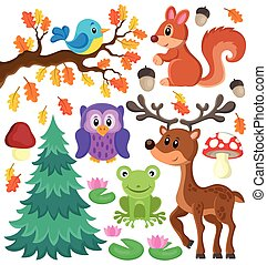 Forest animals theme set 1 - eps10 vector illustration