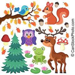 forêt, animaux, thème, ensemble, 1,