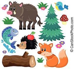forêt, animaux, thème, ensemble, 2,