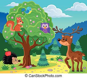 Forest animals topic image 4 - eps10 vector illustration