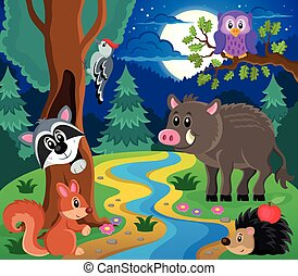 Forest animals topic image 7 - eps10 vector illustration